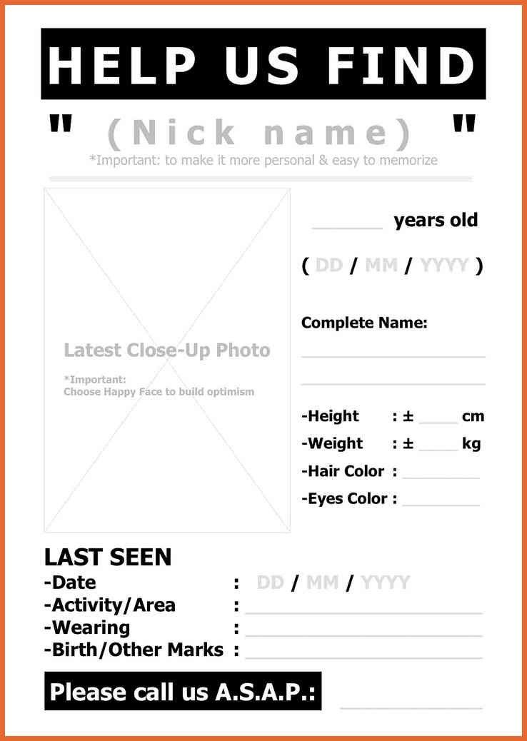 Missing Person Poster Template - Resume Templates