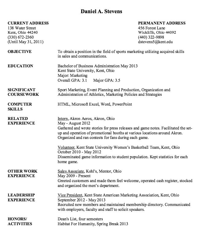 Sport Marketing Resume Sample - http://resumesdesign.com/sport ...