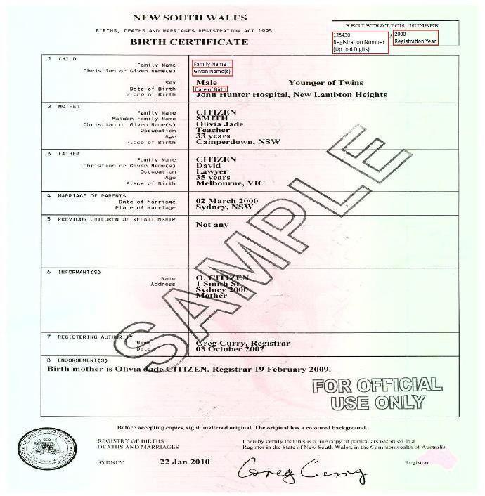 Birth Certificate (Australian) | Unique Student Identifier