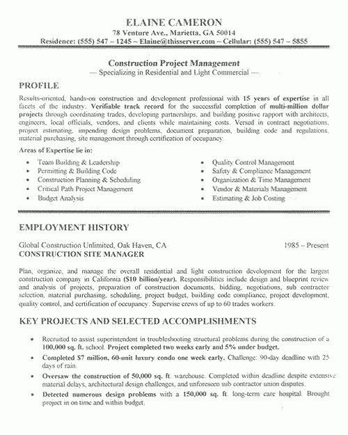 Construction Manager Resume | haadyaooverbayresort.com