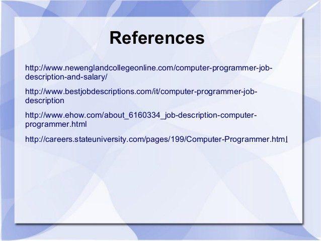 Computer programmer job information