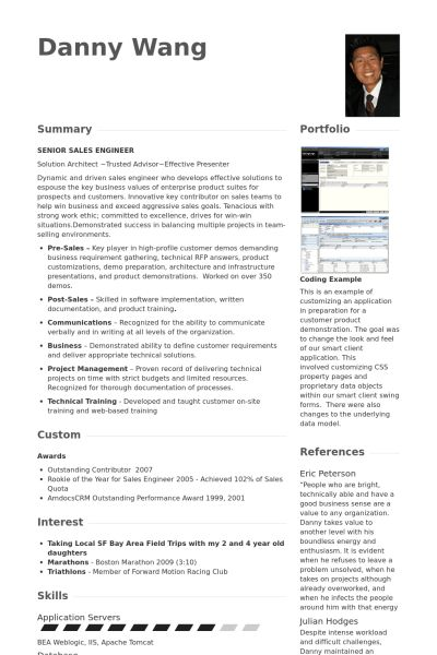 Sales Engineer Resume samples - VisualCV resume samples database