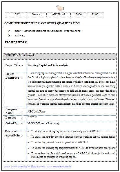 Stunning Resume Format For Experienced Mba Finance 46 About ...