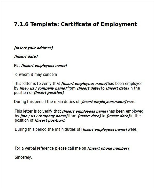 Work Certificate Template -7+ Free Word, Excel, PDF Documents ...