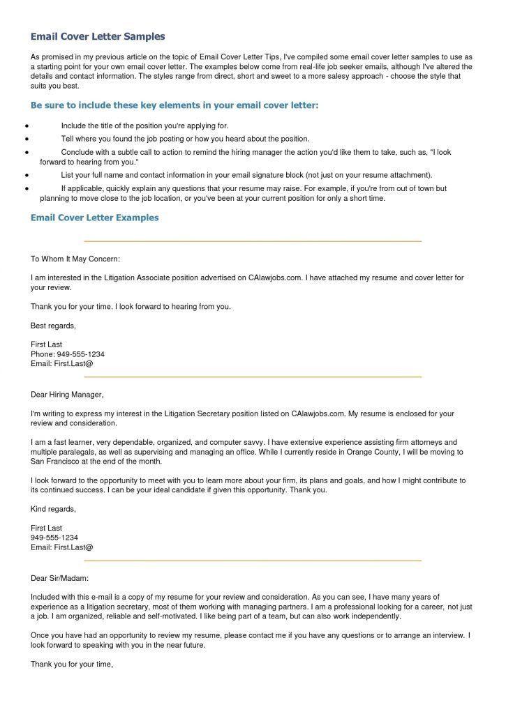 short application cover letter sample