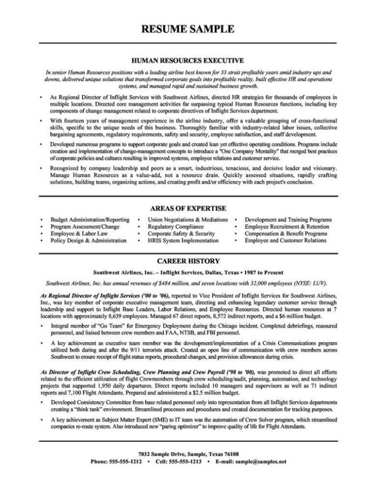 Sample Human Resources Resume | haadyaooverbayresort.com