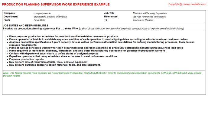 production planning supervisor job description. job description ...