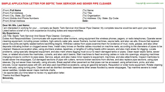 Septic Tank Cleaner Application Letters