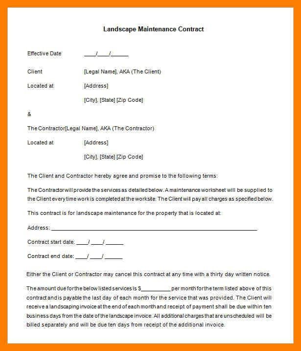 3+ landscape contract template | protect letters