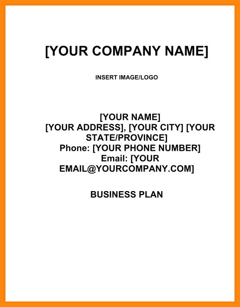 5+ business plan cover page example   model resumed