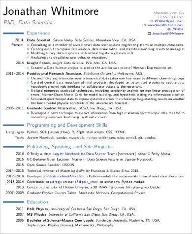data scientist resume computer science resume sample data - Computer Science Resume Usa