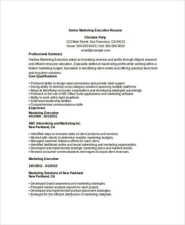 Free Executive Resume Templates - 34+ Free Word, PDF Documents ...