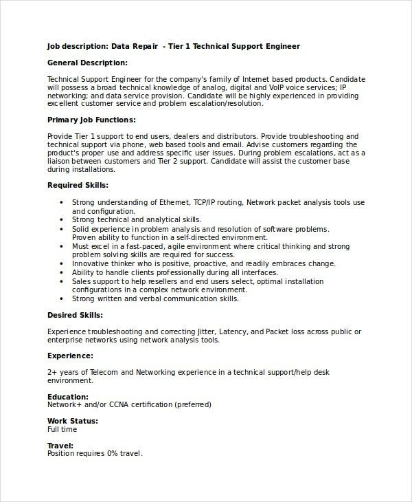 Fascinating Technical Support Job Description Resume 64 For Your ...
