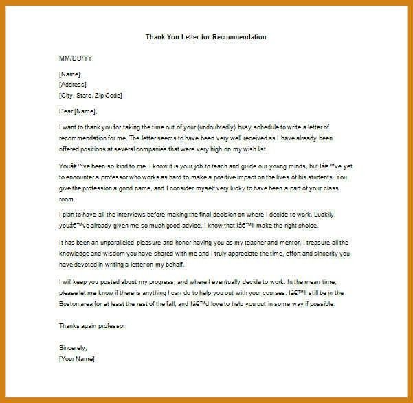 thank you letter to professor | letter format template
