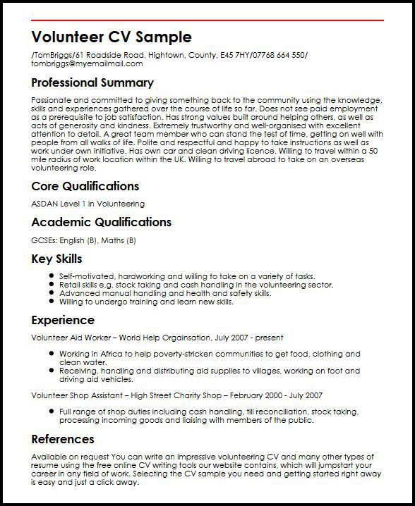Volunteer CV Sample | MyperfectCV