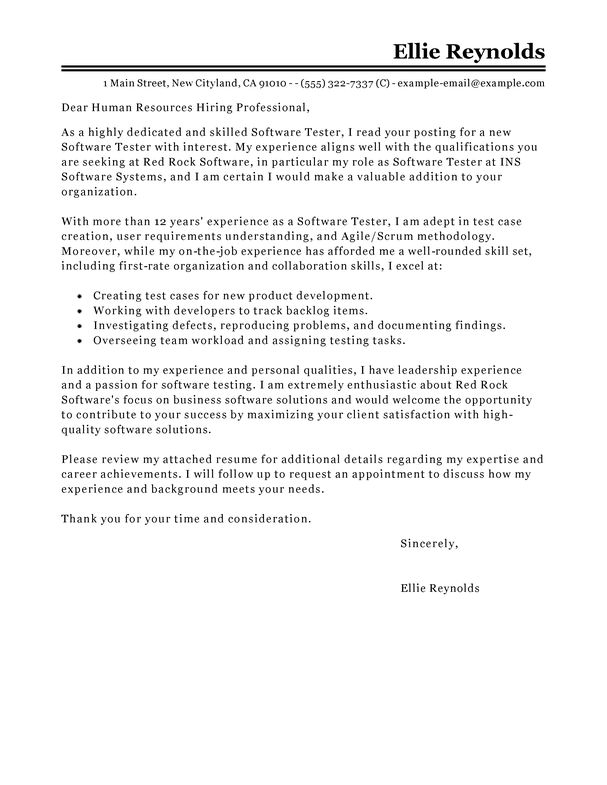 Best Software Testing Cover Letter Examples | LiveCareer