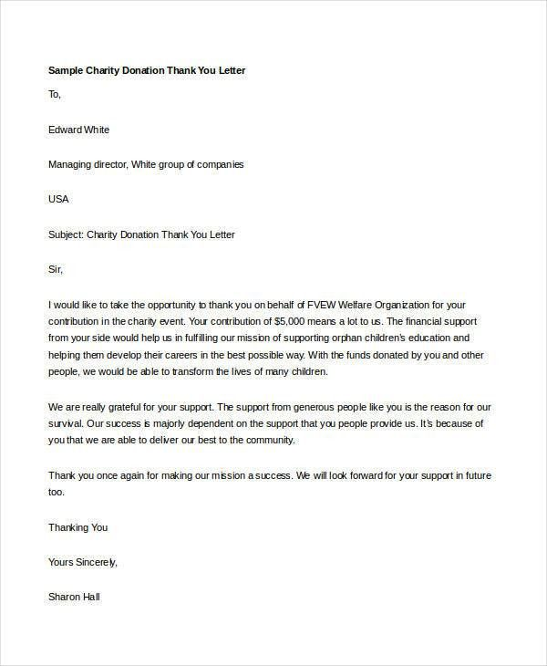 Thank You Letter for Donation – 8+ Free Word, Excel, PDF Format ...