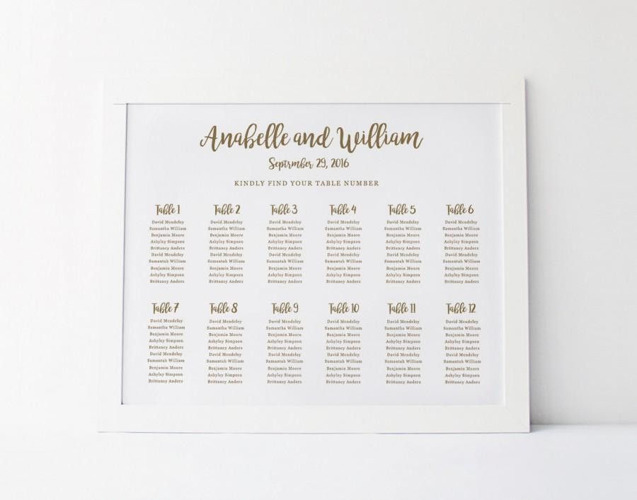 Wedding Seating Chart Template, Seating Plan, Floral Seating Chart ...