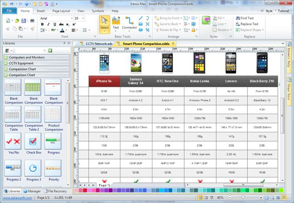 Simple Comparison Chart Maker - Make Great-looking Comparison Chart