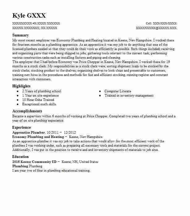 Best Apprentice Plumber Resume Example | LiveCareer
