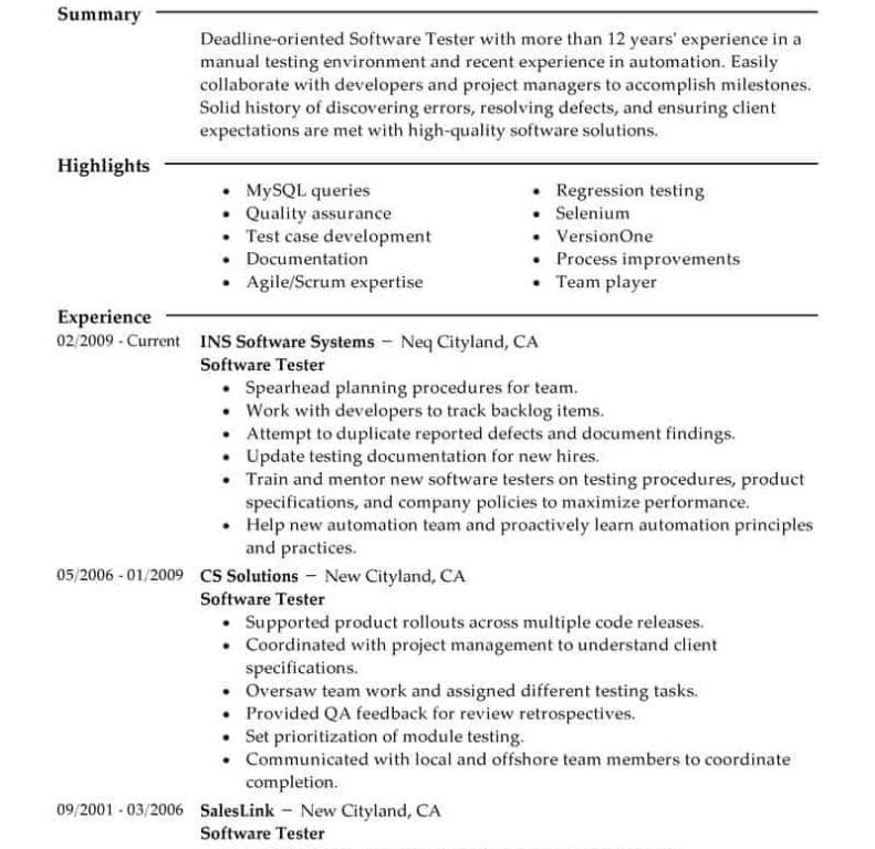 manual test engineer sample resume 18 sample resume software ...