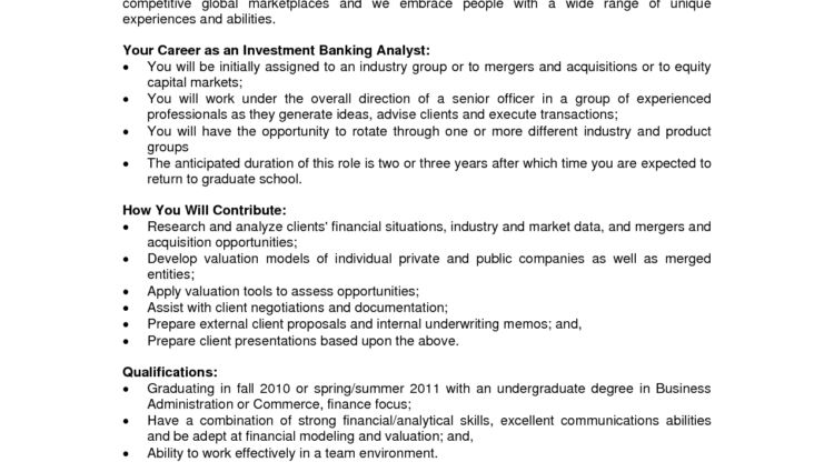 Investment Banking Analyst Resume List of Banking Skills ...