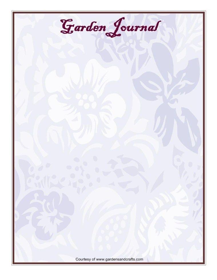 Garden Journal Templates   D&G Gardens and Crafts