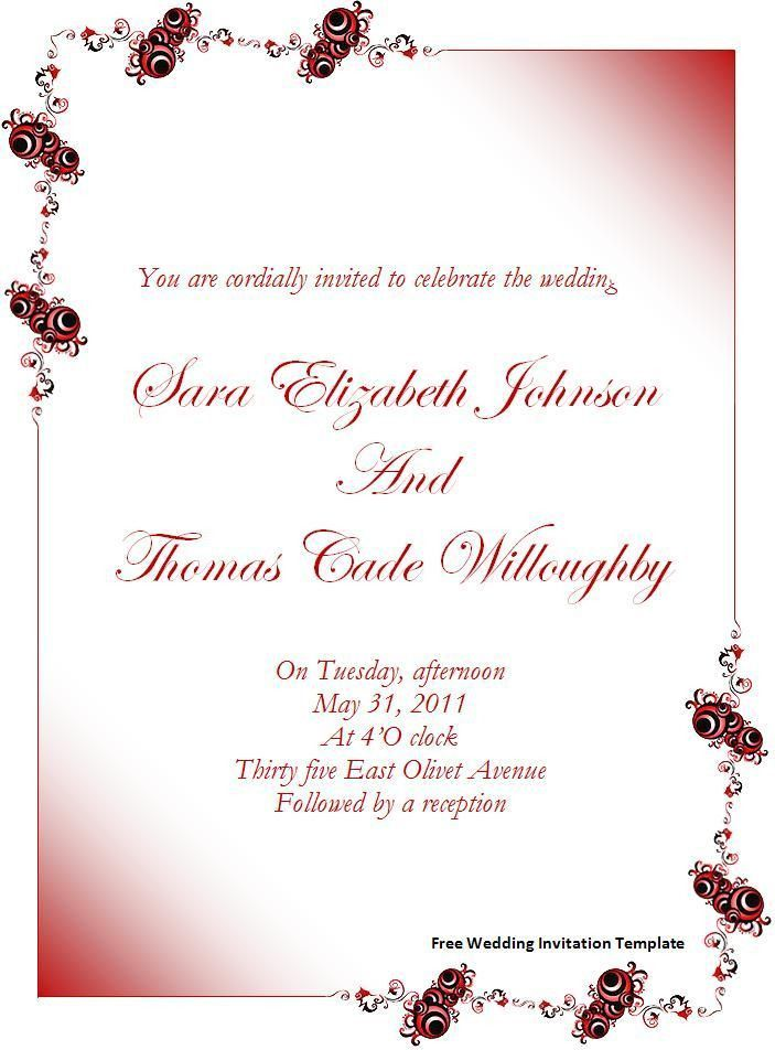 Attractive Free Invitation Card Templates For Word 24 About ...