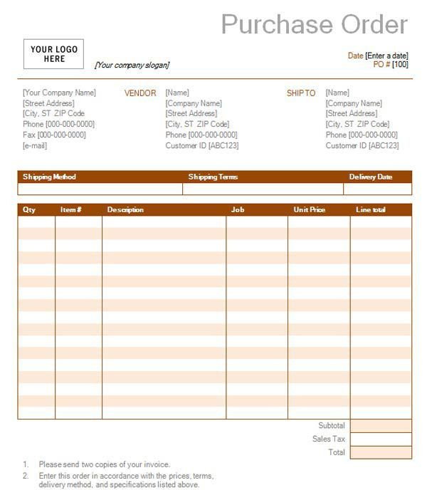 Purchase Order with Rust Design