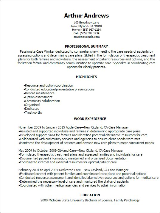 Professional Case Worker Resume Templates to Showcase Your Talent ...