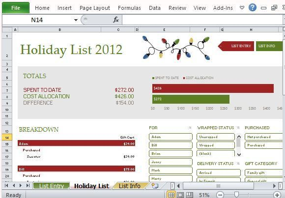 Holiday Shopping Budget Planner Template For Excel