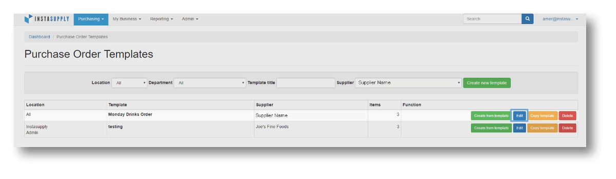 InstaSupply Help | Purchase Order Templates