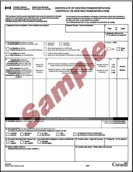 Global Wizard - E15 Certificate of Destruction/Exportation