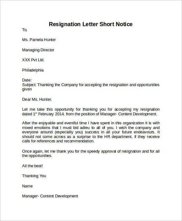 Resignation Letter Short Notice | custom-college-papers