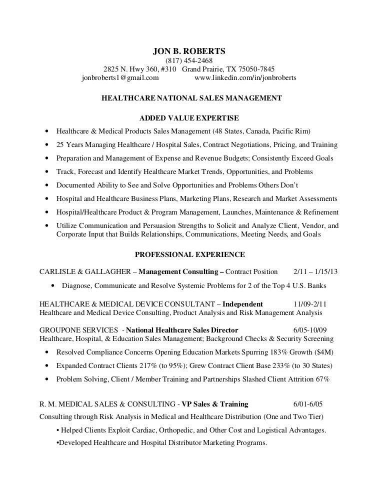 Resume roberts, jon b - healthcare national sales management