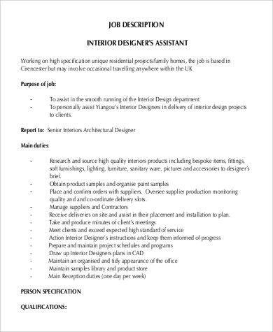 Sample Interior Designer Job Description - 9+ Examples in PDF, Word