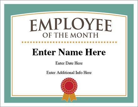 Employee of the Month Certificate - Free Award Certificates