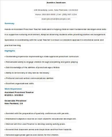 Sample Preschool Teacher Resume - 6+ Examples in Word, PDF