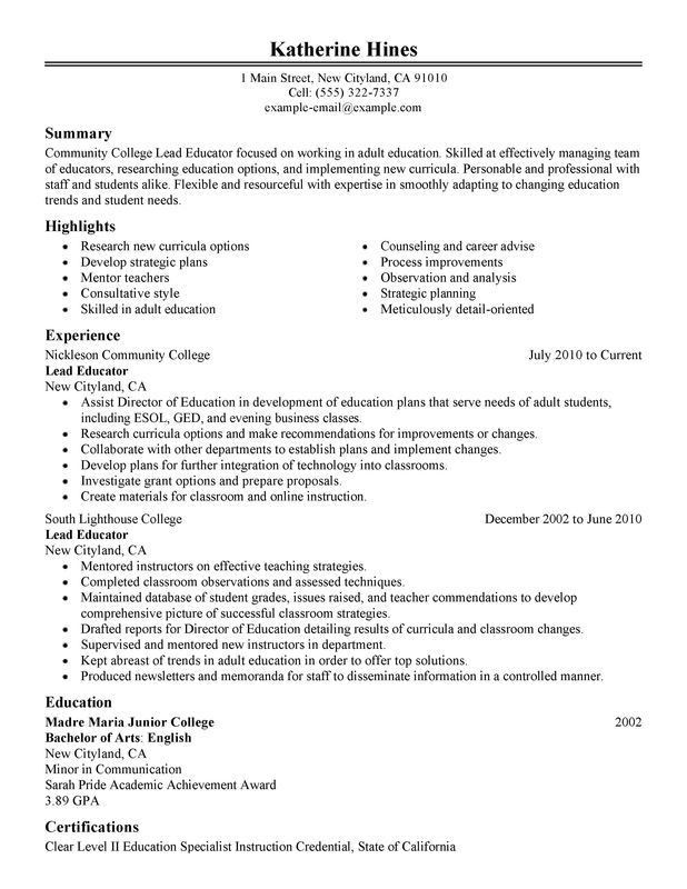 Unforgettable Lead Educator Resume Examples to Stand Out ...