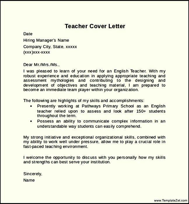 Teacher Cover Letter Format
