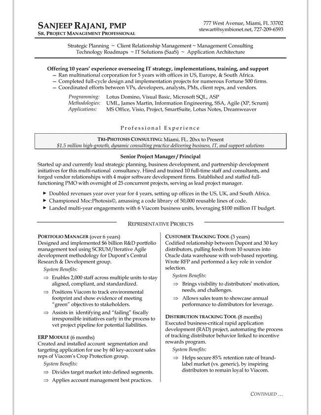 Example Of It Project Manager Resume. project manager resume ...
