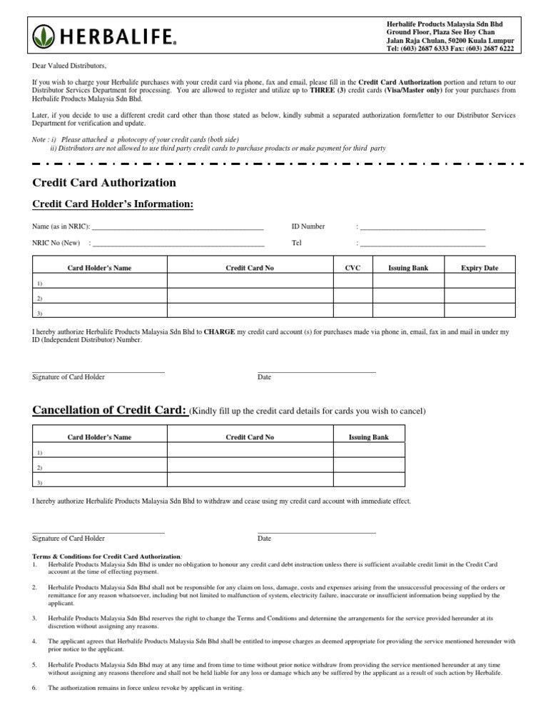 HERBALIFE Credit Card Authorization Form | Credit Card | Government