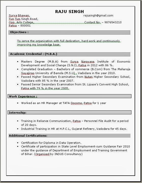 100 Resume Format For Experienced Sample Template Example Of ...