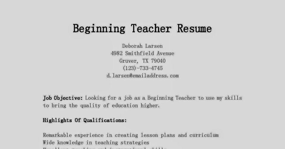 beginners resume examples