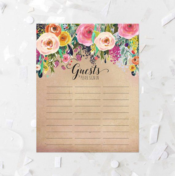Rustic Floral Guest List Printable Bohemian Floral Sign-In