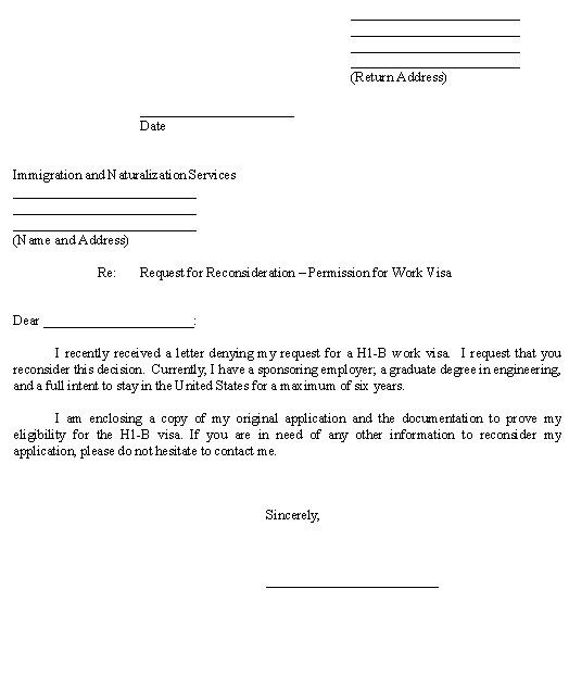 Sample Letter for Request for Reconsideration - Permission for ...