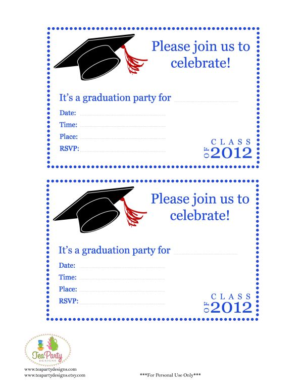 Free Print Graduation Announcements Template - Invitation ...