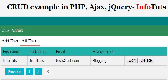 CRUD in PHP jQuery and Ajax - InfoTuts