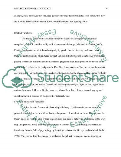 Reflection Paper Sociology: Theories of Human Behavior Essay