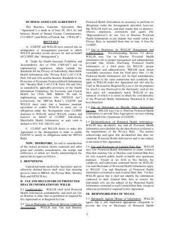 Business Associate Agreement Template. 2 Can Sample Business ...